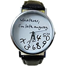 Relojes Pulsera Mujer,Xinan Reloj de cuero Letra Relojes Nueva (Negro)