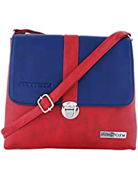 Fantosy Women Blue And Red Lock Slingbag Fnsb-179