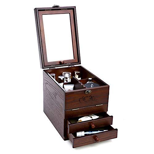 Scatola di gioielli chunlan scatola portaoggetti in legno massello con custodia cosmetica a specchio