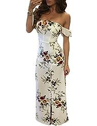 Sujetador de cuello blanco Chiffon de manga corta vestido impreso slit,L,beige