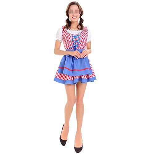 Bauern Frauen Kostüm - 3 Stücke Frauen Halloween Oktoberfest Kostüm Oktoberfest Bayerischen Dirndl Maid Bauer Kostümfest Weibliche Oktoberfest Kleid,Red,M