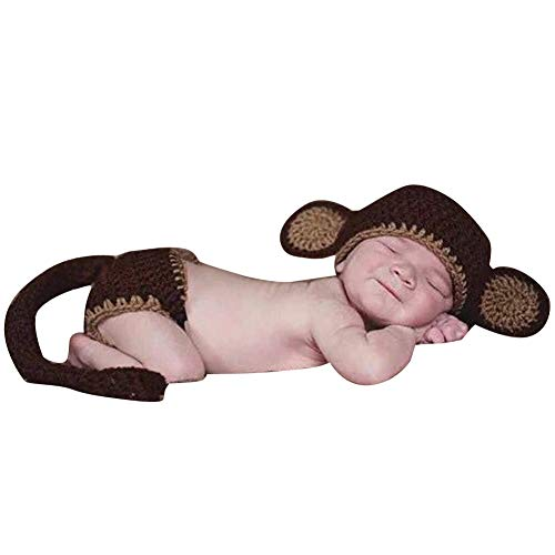 Quge Foto Fotografie Prop Süß Baby Kostüm Tier Stricken Handarbeit AFFE 3