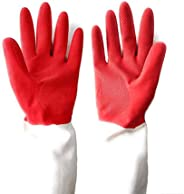 DeoDap Dual Color Reusable Rubber Cleaning Hand Gloves (Multicolour) -1 Pair