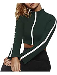 Jxtujnsawu Stripe Zipper Long Sleeve Crop Top Women Stand Neck Ribbed  Knitted Coat (Color   a05411a05
