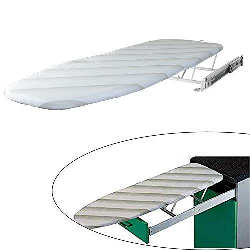 YUSDP Zusammenklappbares ausziehbares Bügelbrett mit Abdeckung, Versteckter Stil - Solider Metallschrank Eingebautes Bügelbrett - Platzsparend - Einfache Installation im Schrank (Bügelbrett-abdeckung Tür)