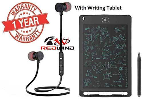 REDWIND Bluetooth Music Wireless in Ear Bluetooth Earphone with Mic Sport Earpiece Richer Bass with Writing Tablet for iPhone and All Smartphone, Laptop, Tablets.