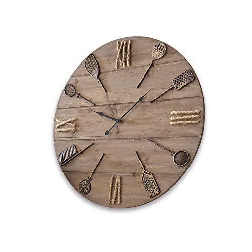 Loberon Uhr Avéne, Tannenholz, Hanf, Eisen, T/Ø ca. 8/60 cm, braun
