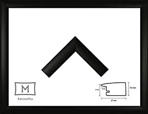 Holz Werkstoff Bilderrahmen TOSKANA 45 x 150 cm mit großer Farbwahl. Jetzt: Schwarz Matt. 1 mm Acrylglas klar