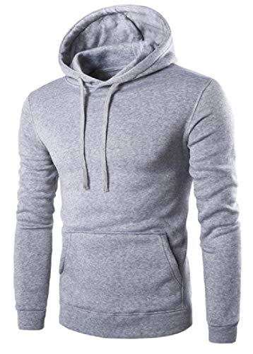CuteRose Mens Active Loose-Fit Softshell Juniors Hoodies with Strings Light Grey M (Zip-up Disney Hoodie)