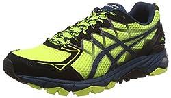 Asics Mens Gel-Fujitrabuco 4 Flash Yellow, Black and Mediterranean Running Shoes - 6 UK/India (40 EU) (7 US)