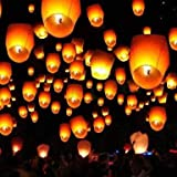 Set Of 5 Paper Sky Lanterns Flying Wishing Lamp Sky Candle Wishing Candle For Christmas New Year Valentines Day Wedding Parties