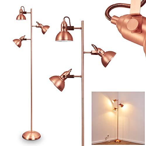 Bodenleuchte Stehleuchte Tina aus Metall in Kupferfarben - Stehlampe für Büro - Schlafzimmer - Wohnzimmer - mit 3 schwenkbaren Lampenschirmen im Vintage-Stil - mit Fußschalter am Kabel - 150cm Höhe (Kupfer Bildet)