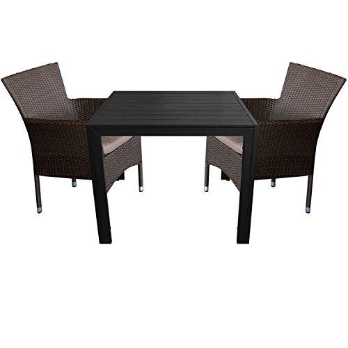 3tlg. Gartengarnitur Aluminium Gartentisch 90x90cm mit Polywood Tischplatte + Rattansessel, stapelbar, Polyrattanbespannung, braun-meliert inkl. Sitzkissen