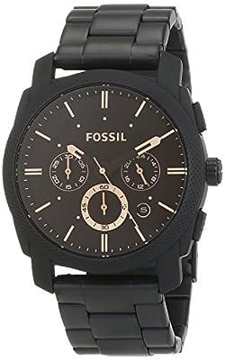 Fossil FS4682 de cuarzo para hombre con correa de acero inoxidable, color negro