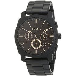 FOSSIL Machine - Montre chronographe homme noire mat en acier inoxydable, avec minuteur - Boîte de rangement et pile incluses