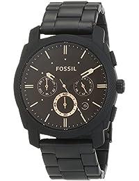 FOSSIL Machine – Montre chronographe homme noire mat en acier inoxydable, avec minuteur - Boîte de rangement et pile incluses