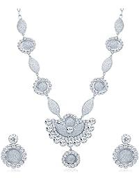Sukkhi Eye-Catchy Rhodium Plated AD Necklace Set For Women