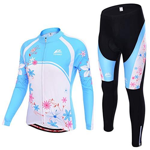 SonMo Damen Schutz Radjacke + Fahrradhose Radfahren Jersey Set Fahrradbekleidung Set Langarm Radtrikot Frühling und Herbst mit Sitzpolster Reflektorstreifen Blau Rosa L