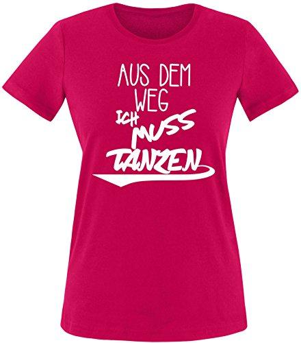ezyshirt Aus dem Weg ich muss Tanzen Damen Rundhals T-Shirt Sorbet/Weiss