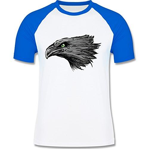 Vögel - Adler - zweifarbiges Baseballshirt für Männer Weiß/Royalblau