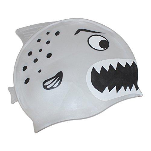 Dianoo bambini impermeabile paraorecchie cap nuotata con alta qualità silicone cartone animato modello cuffia da nuoto bambini cuffia da nuoto(grigio + grande squalo)