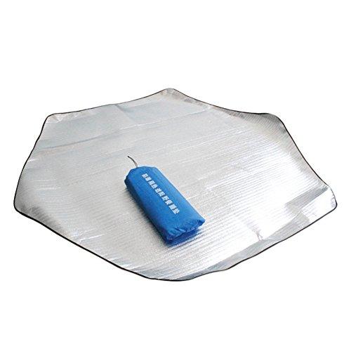 Double côté Couverture de pique-nique Tapis étanche en feuille d'aluminium mat Pad pour camping randonnée Voyage pique-nique, L: 230 x 230 cm/ 90.55*90.55 in