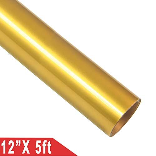Rotolo di vinile termoadesivo termoadesivo per magliette e tessuti fai da te, 30,5 x 152 cm Gold