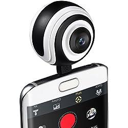 VICTSING Caméra 360° VR avec Objectif Grand-Angle Caméra 360 Degrés VR Panoramique en Temps Réel Photo et Vidéo pour Android 5.0 ou Supérieur avec des Connecteurs Micro USB ou Type-C (Soutient OTG)