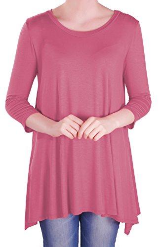 EyeCatch - Reva Womens Round Neck Flared Ladies 3/4 Sleeve Tunic T Shirts Tops Blouse