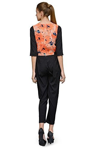 The-Gud-Look-Womens-Orange-Lurid-Spread-Print-Jumpsuit