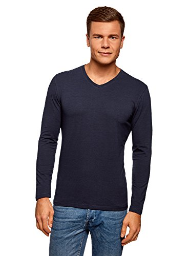 Oodji ultra uomo t-shirt a maniche lunghe con scollo a v senza etichetta, blu, it 48 / eu 50 / m