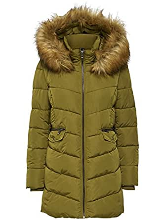 ONLY Damen Winterjacke Mantel Stepp-Jacke onlSANNA LONG QUILTED COAT Kunstfell (Olivegrün(MILITARY OLIVE), XS)