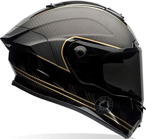 Bell 7069592 Racestar Motorradhelm Speed Check, Schwarz Matt/Gold, M (Carbon Helm Bell)