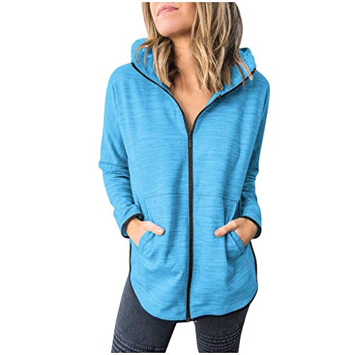 GOKOMO Kapuzenmantel Jacke Damen Coat Mantel Mit Kapuze Sweatjacke Hochwertig Verarbeitet Kuschelig Warmer Pullover(Blau,Small)