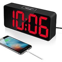 Reacher 9 pulgadas Grande LED Digital Reloj Despertador con puerto USB para cargador de teléfono, Toque activado Snooze y Dimmer, batería de respaldo (Negro)