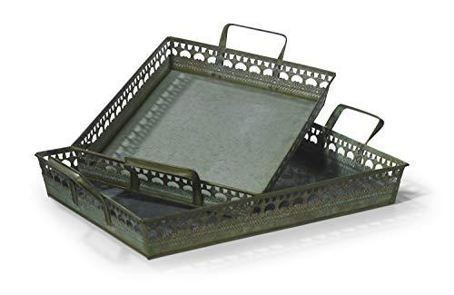Moritz Tablett Serviertablett Metalltablett Set Metall Shabby Landhausstil Antik Stil