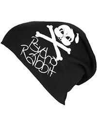 XL Jersey Beanie in schwarz mit Motiv Psycho Rabbit - Handprintet in Germany