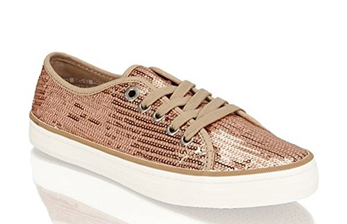 s.Oliver, 23632, Damen Glitter Sneaker, gold(909/copper) Metall
