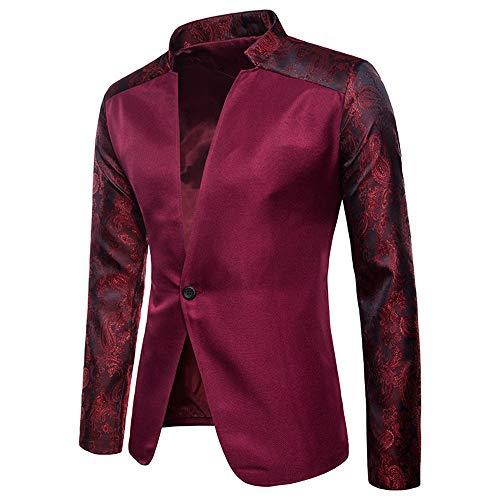 Decha Herren Anzug Jacke Blazer Stehkragen Regular Fit EIN Knopf Freizeit Sakko Mantel für Party Hochzeit Nachtklub Disko