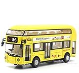 AOTE-D Bus Doppelklimaanlage Bus Modell 1:50 Zurückziehen Spielzeug Sound Und Licht Spielzeugauto Gelb Kind Junge Mädchen Geschenk