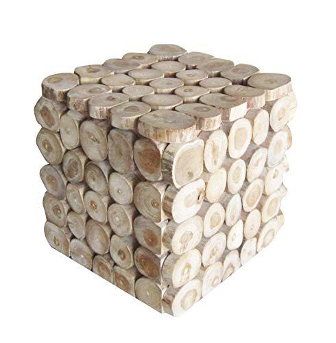 Tabouret/Bout de canapé Cube en Bois de Teck - Design Cosy bohème Chalet Chic - Cube