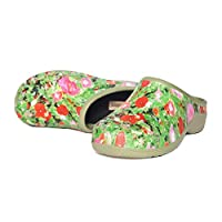 Womens Comfortable Slip On Garden Clogs Shoes, Poppy, UK 5