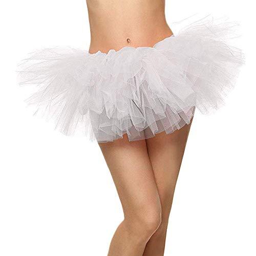 Ksnrang Damen Tüllrock Tütü Rock Minirock 5 Lagen Petticoat Tanzkleid Dehnbaren Tutu Rock Erwachsene Ballettrock für Party Halloween Kostüme Tanzen (Weiß, Einheitsgröße)