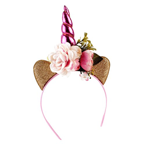 Homyl Glitzer Einhorn Horn Katzenohren Haarreif Haarband Stirnband Haar Clip Party Haarschmuck Geburtstag Blumen Kopfschmuck - Ohr-Pink