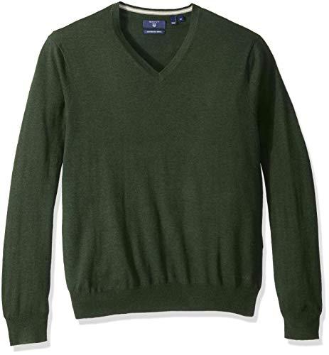 GANT Herren Cotton Silk Wool V-Neck Pullover, Dark Petrol Melange, Mittel -