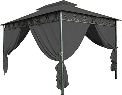 Spetebo Ersatzdach für Pavillon Cape Town 4x3 m - Wasserdicht - in 3 Farben - Pavillondach 3x4 m mit PVC Beschichtung (Anthrazit)