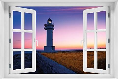 Wallario Acrylglasbild mit Fenster-Illusion: Motiv Leuchtturm am Abend auf den Balearen – Malerischer Himmel - 60 x 90 cm mit Fensterrahmen in Premium-Qualität: Brillante Farben, freischwebende (Illusion Glas Schiff)