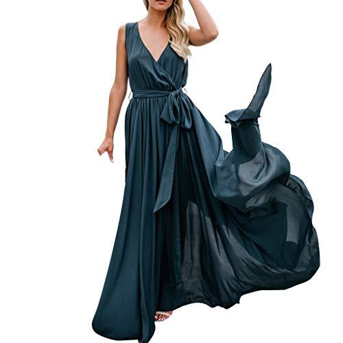 Beikoard Kleid Damen Sexy Holiday Ärmellos Maxikleid Langes Sommer Strandkleid mit Schlitz mit ()