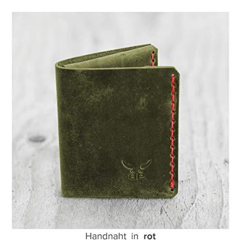 grüne sehr kleine Herren Heritage Geldbörse MONO aus hochwertigem Leder, handgenäht - Verarbeitetes Leder