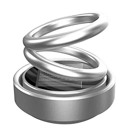 JIJI886 Diffusore di Olio Essenziale,Rotazione della sospensione del doppio anello del diffusore magnetico di aromaterapia del purificatore d'aria dell'automobile (Argento)